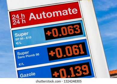 """Closeup on Gas station sign displaying different oils energies super, super unleaded, diesel (""""Super, Super sans plomb, Gazole"""" in french language) and increasing their price over a fictitious year"""