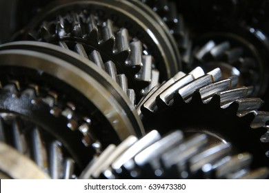 Closeup on gears of transmission gearbox
