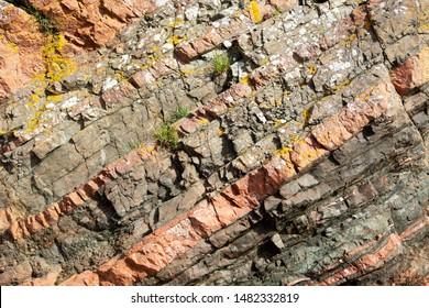 Closeup on Geological Rock Layers