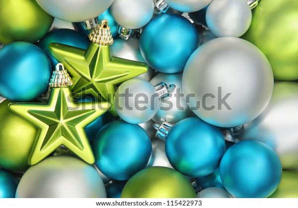 Closeup on glitter star and shiny balls,Christmas decoration.