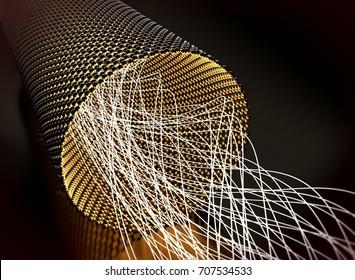Closeup on a graphene tube transporting light. 3d illustration