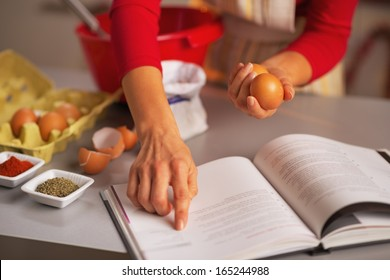 Closeup on happy young housewife preparing christmas dinner in kitchen