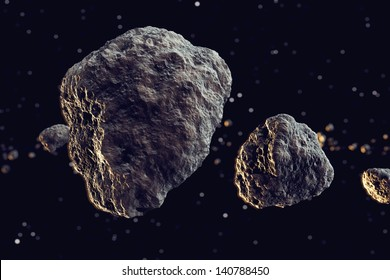 Closeup on meteor lumps in space. Dark background. Suitable for any fantasy, astronomy or space realted purposes.
