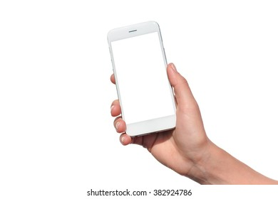 Closeup on mobile phone in hand on white background.