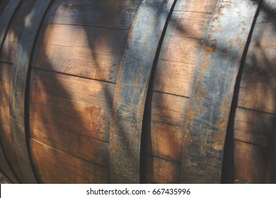 Closeup on an old wine barrel