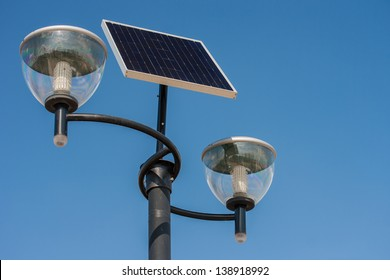 Close-up on photovoltaic powered street light