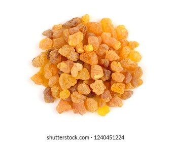 Closeup on a Pile of Frankincense Olibanum Aroma Resin. Isolated on White Background.