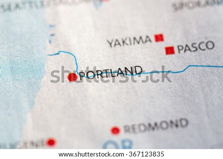 Closeup On Portland Oregon On Map Stock Photo (Edit Now) 367123835 ...