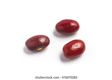 Close-up on a Red Beans over a white a background