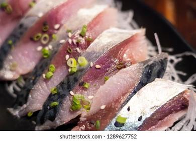 Close-up on Shime Saba or Raw Salted Mackerel Marinated in Vinegar