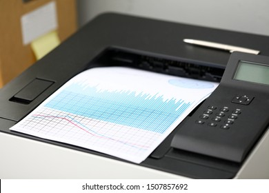 Close-up on special high-tech fax printing significant charts and graphs in office. Pile of documents used to analyze successful corporation investment. Reports sale concept - Shutterstock ID 1507857692