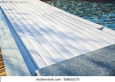 Closeup On Swimming Pool Roller Shutter Covers