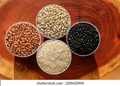 Close-up on three varieties of beans and rice