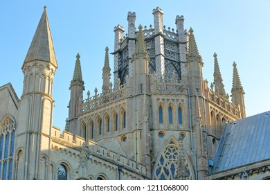 Close-up on turrets, spires and the Octagon of the Cathedral of Ely in Cambridgeshire, Norfolk, UK