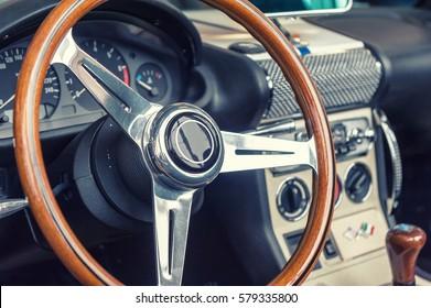 Closeup on a wheel of a vintage car