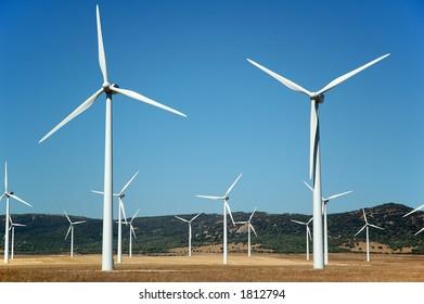 Closeup on wind turbines