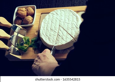 Closeup on woman cutting fresh cheese at desk.