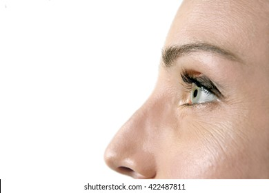 Close-up on woman's eye looking away