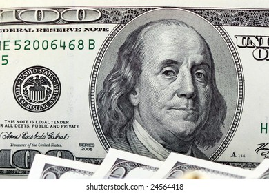 closeup of a one hundred dollar bill - business concept