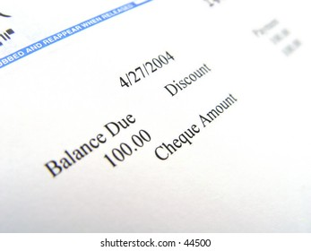 Closeup of one hundred dollar check