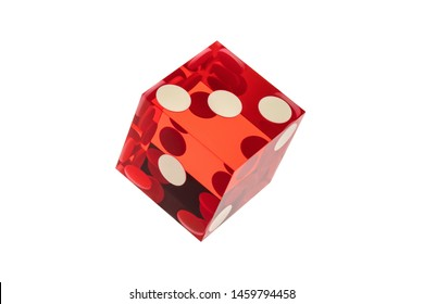 Close-up of one red transparent dice with three, two, one on the visible face. Professional game cube, isolated on a white background without a shadow.