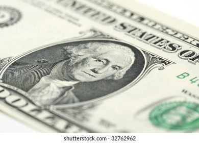 close-up of a one US dollar banknote