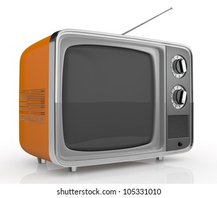 closeup of one vintage tv (3d render)