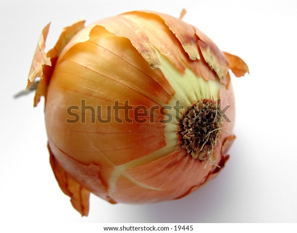 Closeup of a Onion with white isolated background