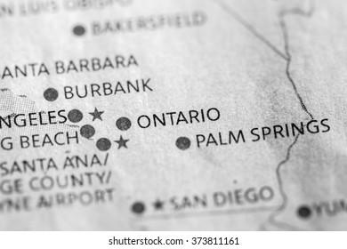 Closeup of Ontari, California on a map of the USA.