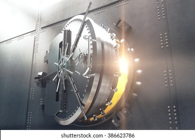 Closeup of an open bank vault door with golden light peeking from inside. 3D Render