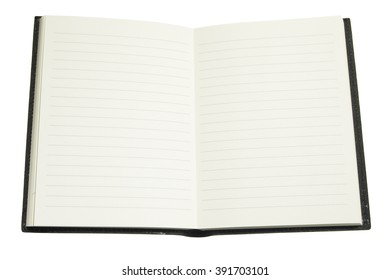 Closeup of open blank diary isolated on white background