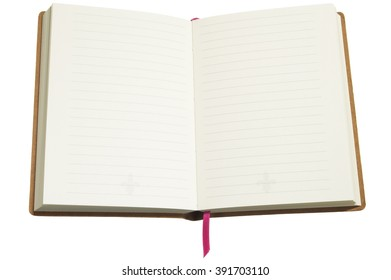 Closeup of open blank diary on white background
