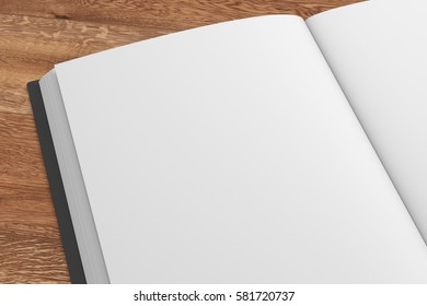 Closeup of open book with black cover and blank pages isolated on wooden background. Include clipping path. 3d render