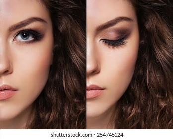 close-up, open and closed eyes, good makeup