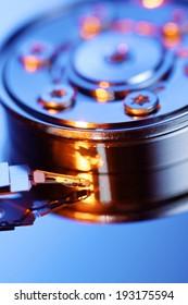 Closeup of an open computer hard drive