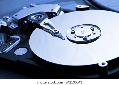 Close-up of the opened Hard Disk Drive