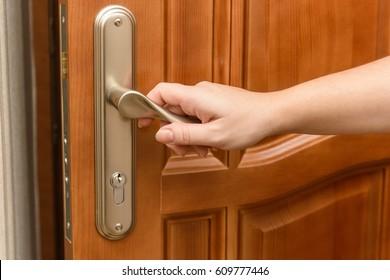 Close-up of opening door