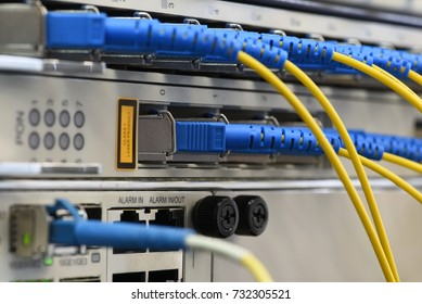 Closeup of optical links at data center of the internet provider