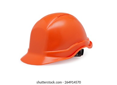 Closeup of orange helmet work on a white background