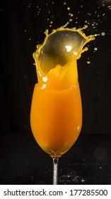 Closeup of orange splash