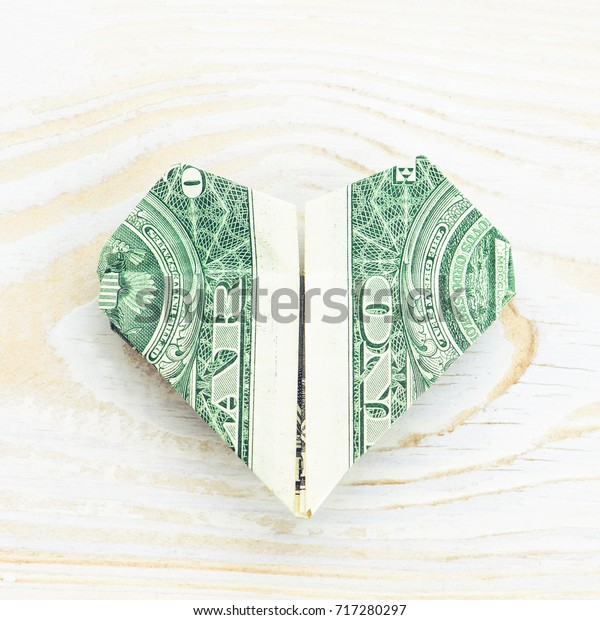 Money Origami HEART Real One Dollar Bill Isolated On White Stock ... | 620x600