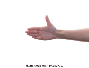 Closeup outstretched female Hand Isolated On White Background. Greetings.