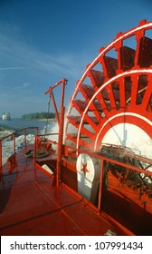 Close-up of paddles of The Delta Queen steamboat on the Mississippi River