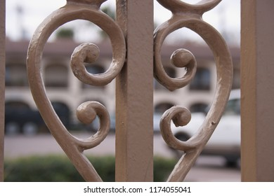 Close-up of a painted metal railing (taken in St. Augustine, Florida, USA).