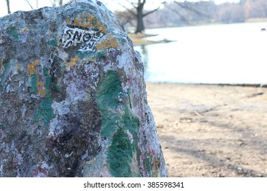Close-up of a painted rock in the park