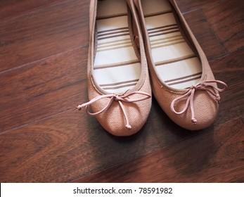 closeup of a pair of ballerina flats (shoes)