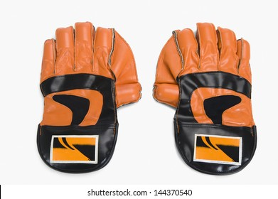 Close-up of a pair of wicket keeping gloves