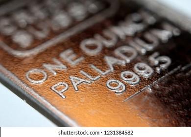 Close-up of a palladium bar