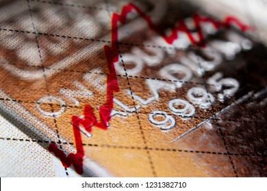 Close-up of a palladium bar and financial chart