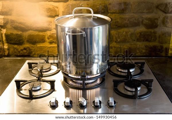 Closeup of a pan on stove